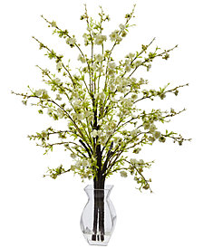 Nearly Natural Cherry Blossom Artificial Arrangement in Glass Vase