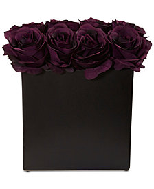 Nearly Natural Purple Rose Artificial Arrangement in Black Vase