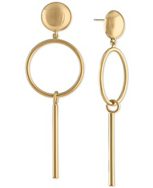 Gold-Tone Post & Circle Drop Earrings