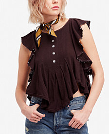 Free People Tiny Bells Ruffled Cropped Top