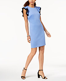 Tommy Hilfiger Flutter-Sleeve Scuba Dress