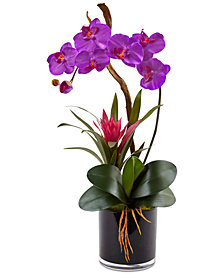 Nearly Natural Dark Purple Orchid & Bromeliad Artificial Arrangement in Glossy Black Cylinder Vase