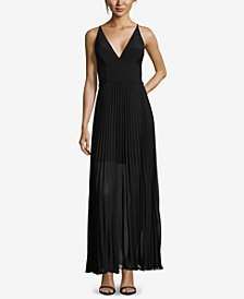 XSCAPE Pleated V-Neck Gown