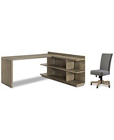 Ridgeway Home Office 3-Pc. Set (Return Desk, Peninsula USB Outlet Bookcase, & Upholstered Desk Chair)