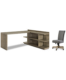Ridgeway Home Office Furniture, 3-Pc. Set (Return Desk, Peninsula USB Outlet Bookcase, & Upholstered Desk Chair)