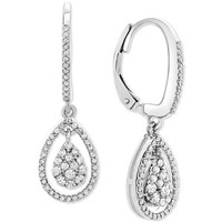 Deals on Macys Diamond Teardrop Orbital Drop Earrings 1/2 ct. in Silver