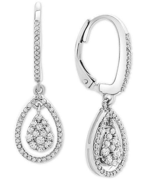 Macy's Diamond Teardrop Orbital Drop Earrings (1/2 ct. t.w.) in Sterling Silver