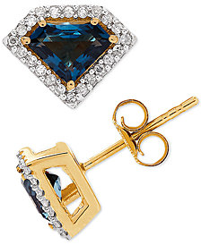 London Blue Topaz (1 ct. t.w.) & Diamond (1/5 ct. t.w.) in 14k Gold