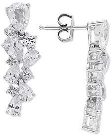 Arabella Cubic Zirconia Cluster Drop Earrings in Sterling Silver