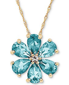 "Aquamarine (2-1/10 ct. t.w.) & White Topaz (1/10 ct. t.w.) Flower 18"" Pendant Necklace in 14k Gold"
