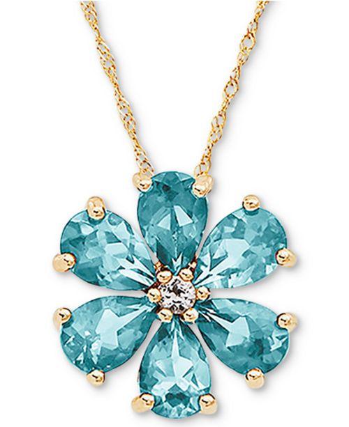 "Macy's Aquamarine (2-1/10 ct. t.w.) & White Topaz (1/10 ct. t.w.) Flower 18"" Pendant Necklace in 14k Gold"