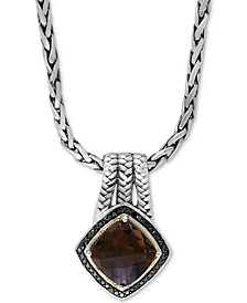 """EFFY® Smoky Quartz (3-3/4 ct. t.w.) and Black Diamond (1/5 ct. t.w.) 18"""" Pendant Necklace in Sterling Silver and 18k Gold"""