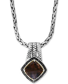 "EFFY® Smoky Quartz (3-3/4 ct. t.w.) and Black Diamond (1/5 ct. t.w.) 18"" Pendant Necklace in Sterling Silver and 18k Gold"
