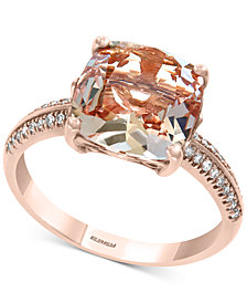 EFFY® Morganite (2-9/10 ct. t.w.) & Diamond (1/8 ct. t.w.) Ring in 14k Rose Gold
