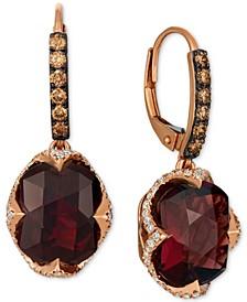 Raspberry Rhodolite Garnet (9-5/8 ct. t.w.) & Diamond (3/4 ct. t.w.) Drop Earrings in 14k Rose Gold