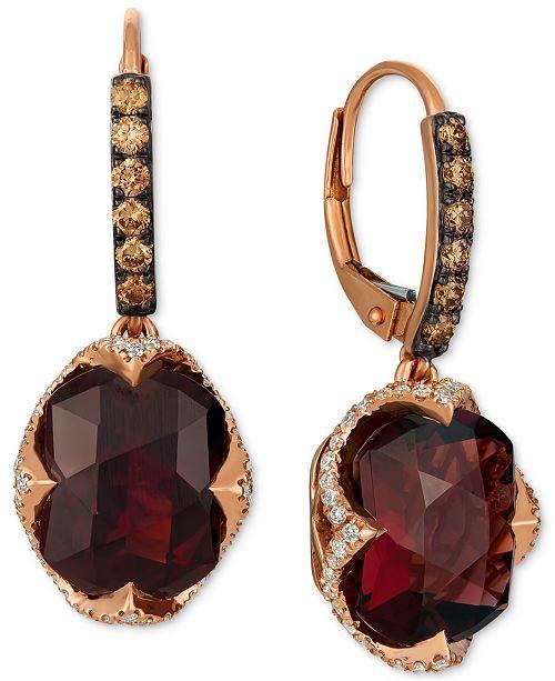 Le Vian Raspberry Rhodolite Garnet (9-5/8 ct. t.w.) & Diamond (3/4 ct. t.w.) Drop Earrings in 14k Rose Gold
