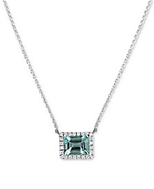 "Aquamarine (1-5/8 ct. t.w.) & Diamond (1/6 ct. t.w.) 16"" Pendant Necklace in 14k White Gold"