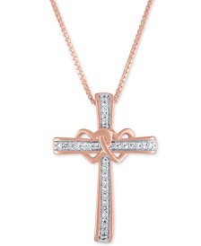 "Diamond Heart and Cross 18"" Pendant Necklace (1/10 ct. t.w.) in 14k Rose Gold-Plated Sterling Silver"