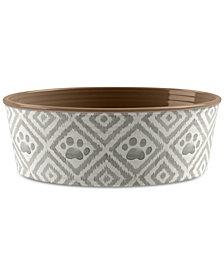 TarHong Paw Ikat Beige Small Pet Bowl