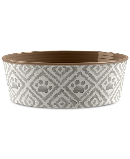 TarHong Paw Ikat Beige Small Pet Bowl