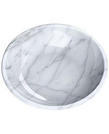 TarHong Faux Carrara Marble Melamine Pet Saucer