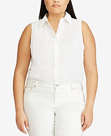 Plus Size Non-Iron Stretch Sleeveless Shirt