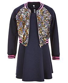Beautees Big Girls Plus 3-Pc. Reversible Sequin Bomber Jacket, Dress & Bow Set