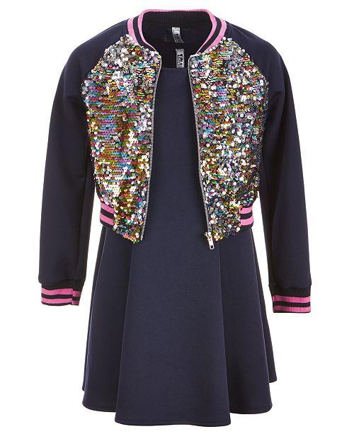 233250d3a Beautees Big Girls 3-Pc. Reversible Sequin Bomber Jacket, Dress ...