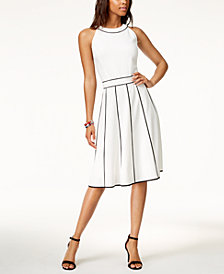 Tommy Hilfiger Piped Fit & Flare Dress, Created for Macy's