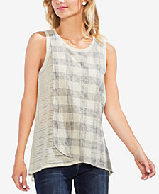 Vince Camuto Sheer Plaid-Contrast Top