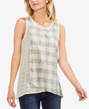 SHEER PLAID-CONTRAST TOP