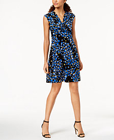 Anne Klein Printed Twist-Front Dress