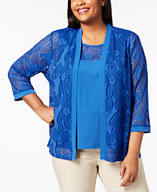 Alfred Dunner Plus Size Royal Street Layered-Look Mesh Top