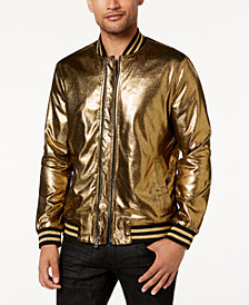 I.N.C. Men's Gold Foil Bomber Jacket, Created for Macy's