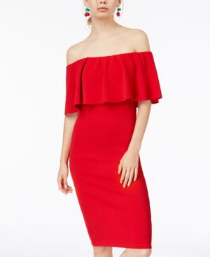 ALMOST FAMOUS Juniors' Off-The-Shoulder Bodycon Dress in Red