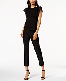 Anne Klein Flutter-Sleeve Top & Slim-Fit Pants