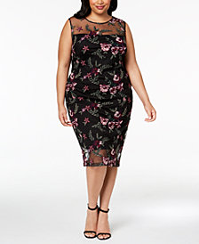 Calvin Klein Plus Size Floral-Embroidered Illusion Dress