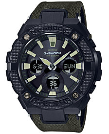 G-Shock Men's Solar Analog-Digital G-Steel Green Cordura Nylon & Leather Strap Watch 52mm
