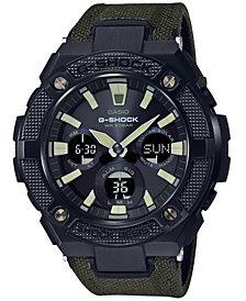 G-Shock Men's Solar Analog-Digital G-Steel Green Cordura Nylon & Leather Strap Watch 52mm