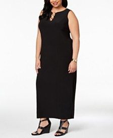 MSK Plus Size Three-Ring Maxi Dress