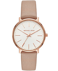 Michael Kors Women's Pyper Brown Leather Strap Watch 38mm