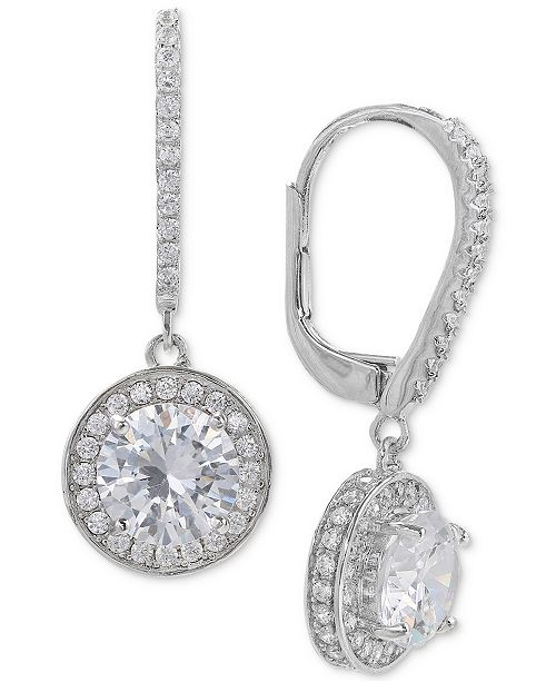 Giani Bernini Cubic Zirconia Halo Drop Earrings In Sterling Silver Jewelry Watches Macy S