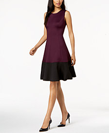 Calvin Klein Colorblocked Fit & Flare Dress, Regular & Petite Sizes