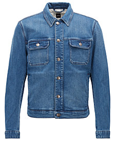 BOSS Men's Slim-Fit Embroidered Graphic-Print Denim Jacket