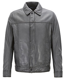 BOSS Men's Slim-Fit Leather Trucker Jacket
