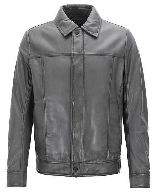 9ee3ea20b Hugo Boss BOSS Men's Slim-Fit Leather Trucker Jacket & Reviews ...