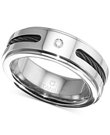 Men's Diamond Accent Cable Band in Titanium and Black Ion-Plate