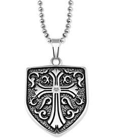 "Men's Cross Shield 24"" Pendant Necklace in Stainless Steel"