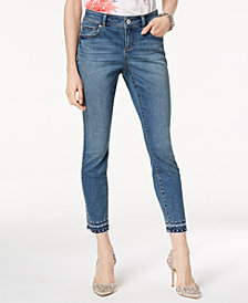 I.N.C. Curvy-Fit Studded Released-Hem Skinny Jeans, Created for Macy's