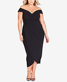 City Chic Trendy Plus Size Off-The-Shoulder Faux-Wrap Dress